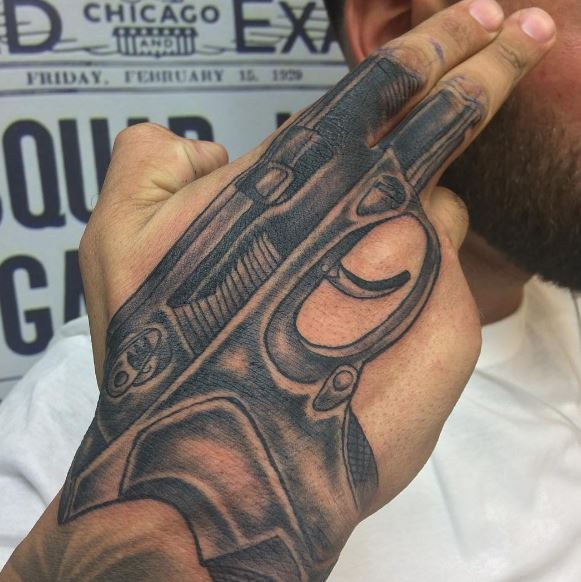 Gun Tattoos On Hand
