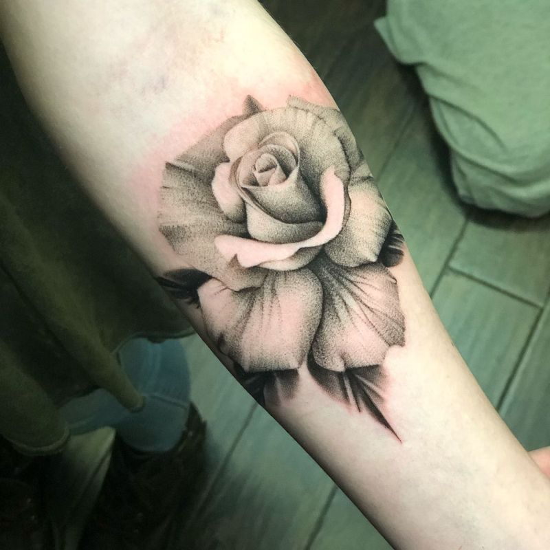awesome black & gray rose tattoo