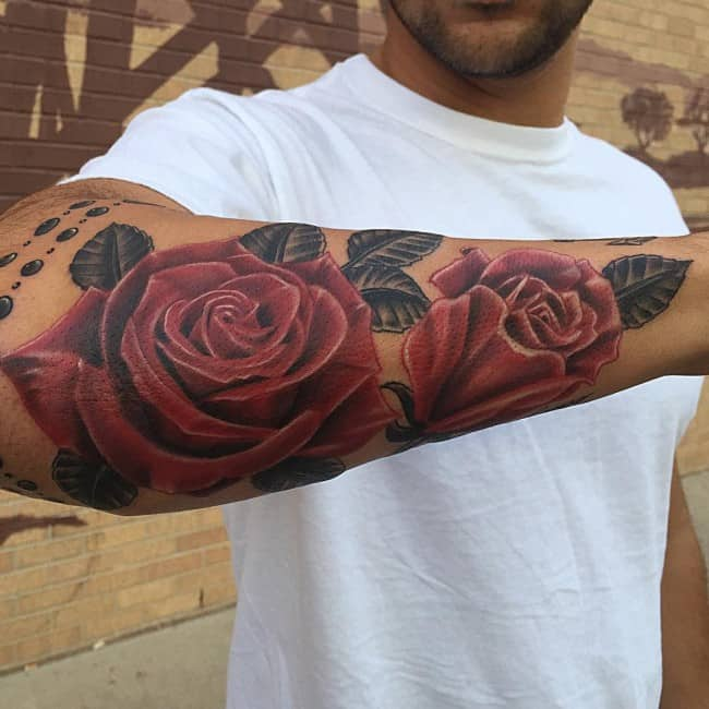 mens rose tattoo