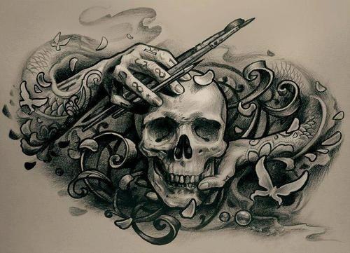 Черно белый эскиз тату с цветами: Черно-белый эскиз тату