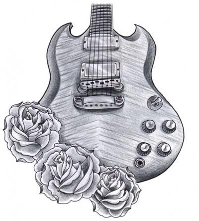 эскиз тату гитара: