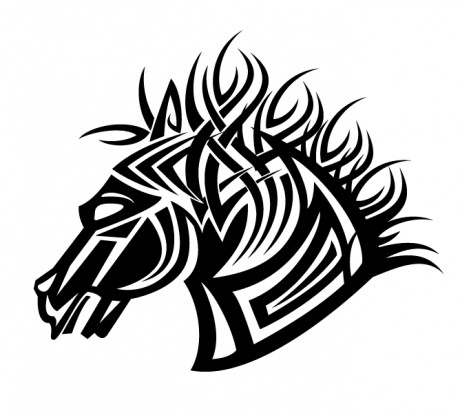 Черно белый эскиз тату голова лошади