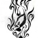Чёрно белые эскизы тату волка