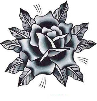 Черно белый эскиз тату роза