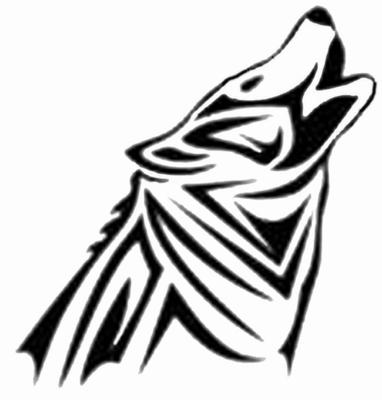 Белый эскиз тату с изображением волка