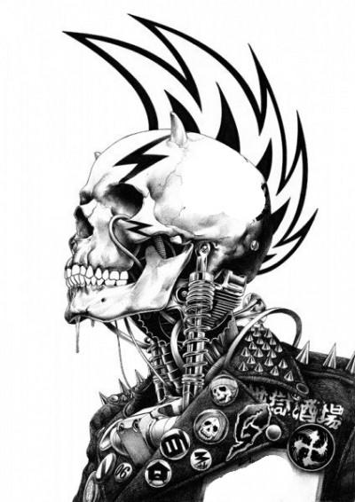 чёрно-белая картинка череп