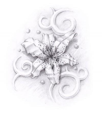 Черно белый эскиз татуировки цветок