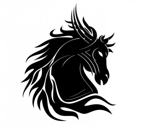 Белый эскиз татуировки голова лошади