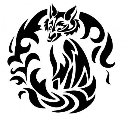 Черно белый эскиз татуировки лиса