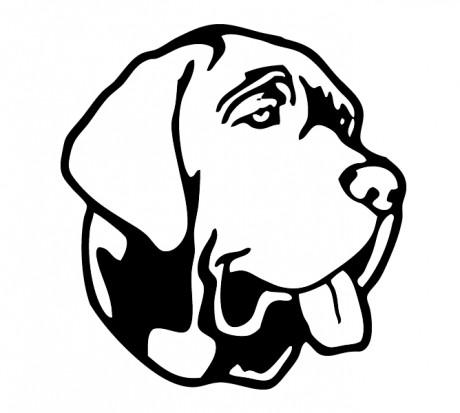 Черно белый эскиз татуировки собаки