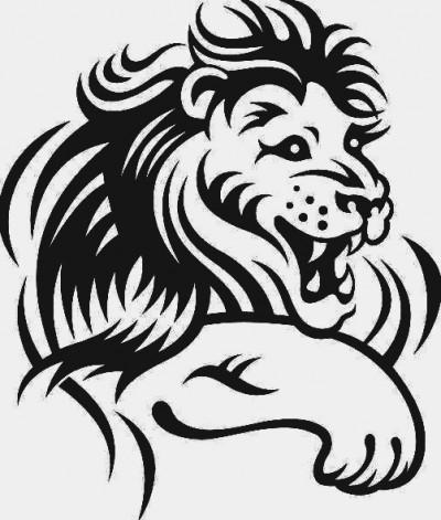 Эскиз татуировки в виде головы льва