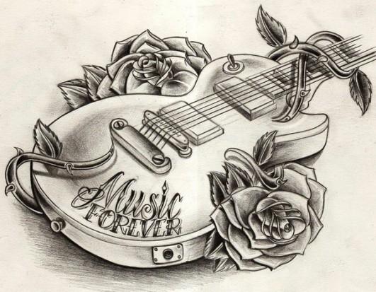 рисунок гитара: