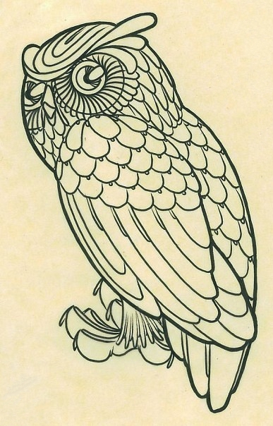 Черно белый эскиз татушки совы
