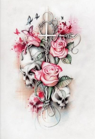 Тату череп розы бабочки и крест