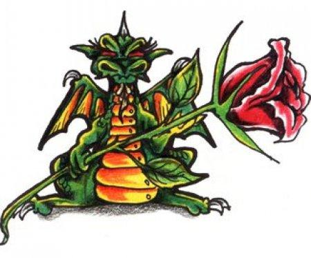 Цветной эскиз тату цветок красной