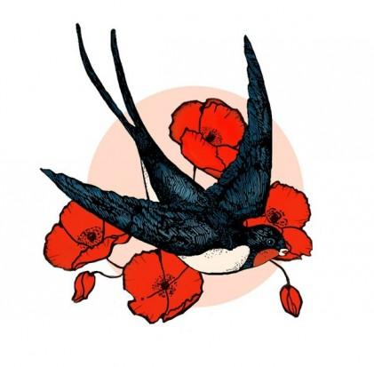 Цветной эскиз тату цветы мака и