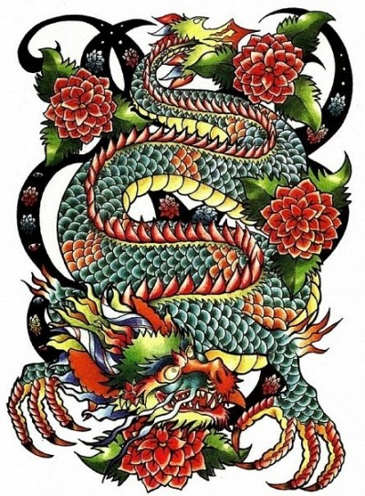 Тату дракон в цвете