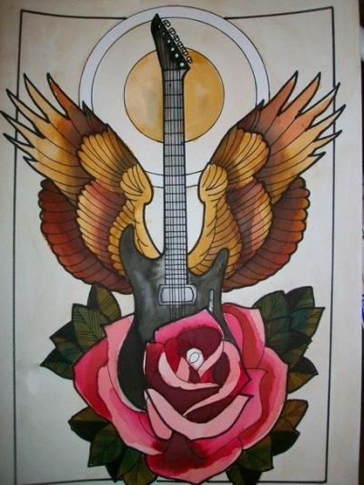 Эскиз тату гитара с крыльями и роза