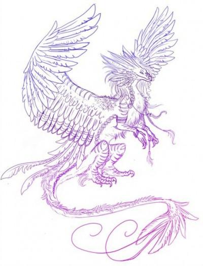 Эскиз тату с изображением дракона с