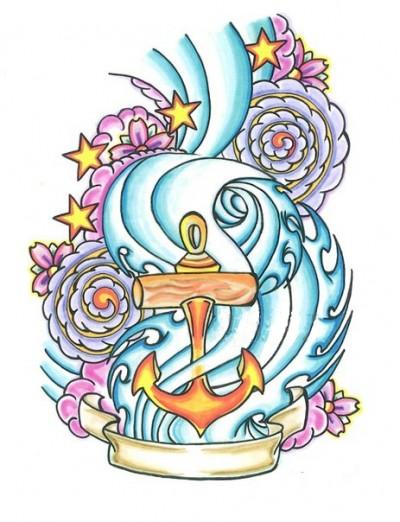 Цветной эскиз тату в виде якоря и