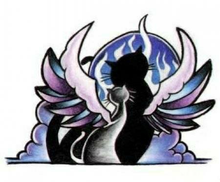 Цветной эскиз тату в виде кошки и кота