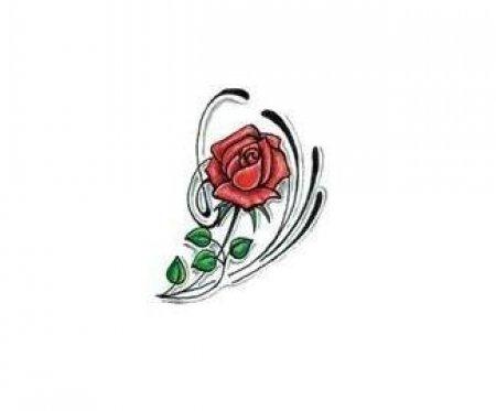 Цветной эскиз татуировки цветок розы