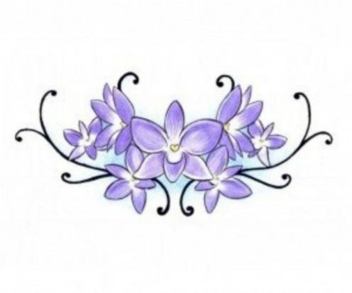 Цветной эскиз татушки цветков орхидеи