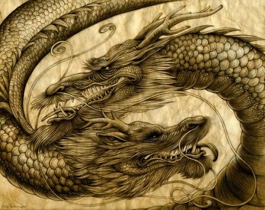 Эскиз тату два дракона значение тату