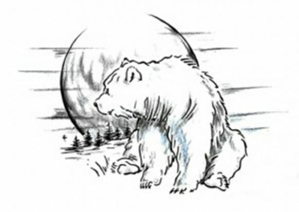 рисунки медведя черно белые