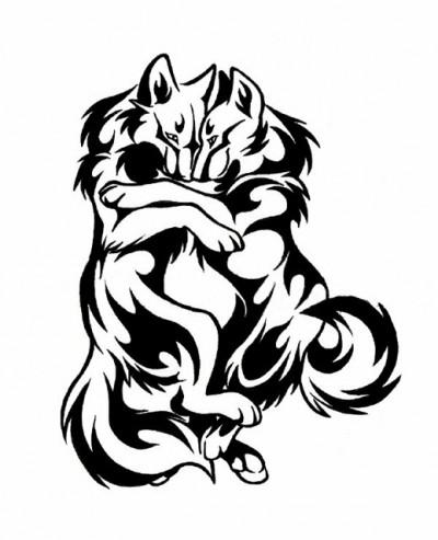 Эскиз тату обнимающаяся пара волков