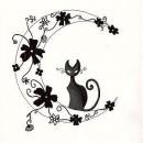 Эскиз тату в виде черной кошки эскиз