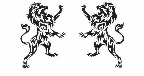 Эскиз тату в виде пары дерущихся львов