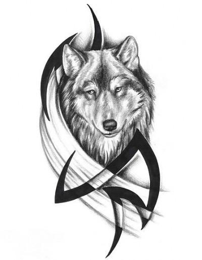 Эскиз тату волк и узор