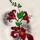 Цветной эскиз татушки бабочка на