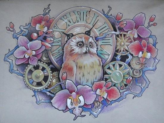 Красивый цветной эскиз тату сова
