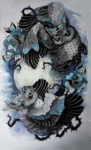 Красивый цветной эскиз татуировки в