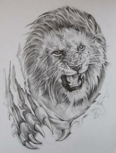 Красивый эскиз татуировки лев