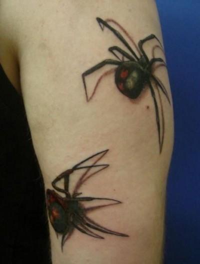 Тату на плече парня в виде двух пауков