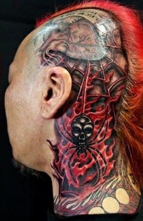 Что означает татуировка паук на голове