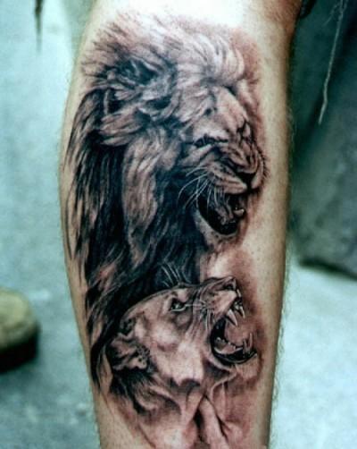 Тату львы значение тату на голени