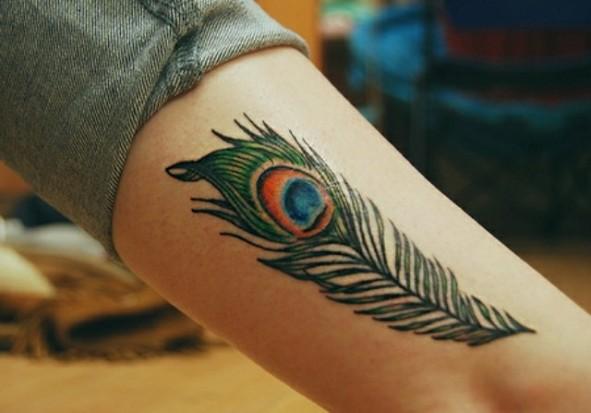 Татуировка перо павлина на руке